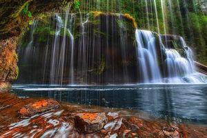Заставки Washington, Lower Lewis River Falls, Национальный лес Гиффорда