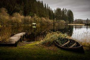 Бесплатные фото Шотландия,Лох-Ард,навес для лодок,пристань,Лодка,вода,осень