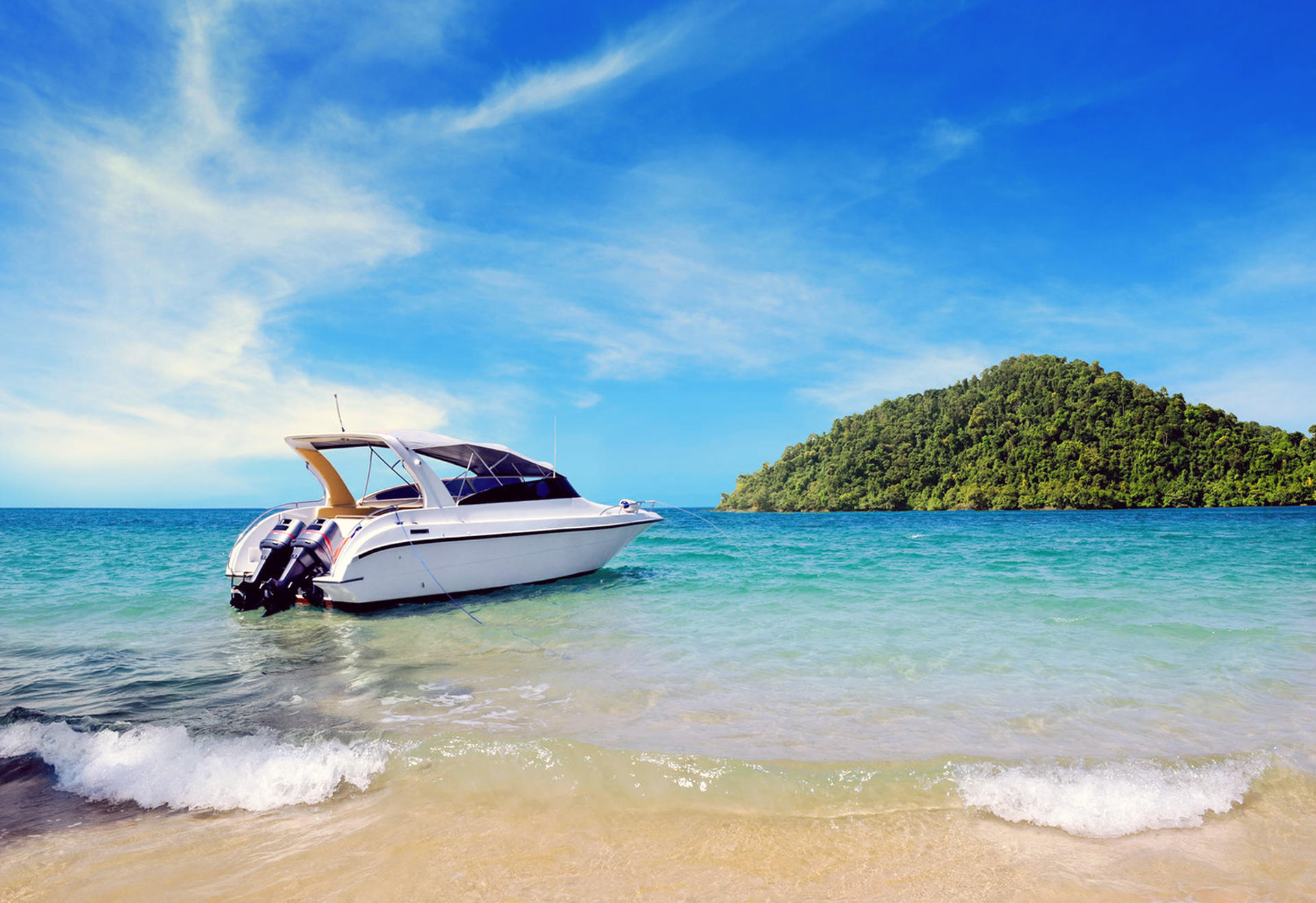 Обои море, лодка, остров