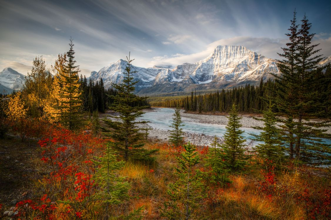 Фото бесплатно Jasper National Park, Canada, осень, река, горы, деревья, пейзаж, пейзажи
