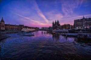 Обои Амстердам, Закат солнца, город, центральный железнодорожный вокзал, Нидерланды