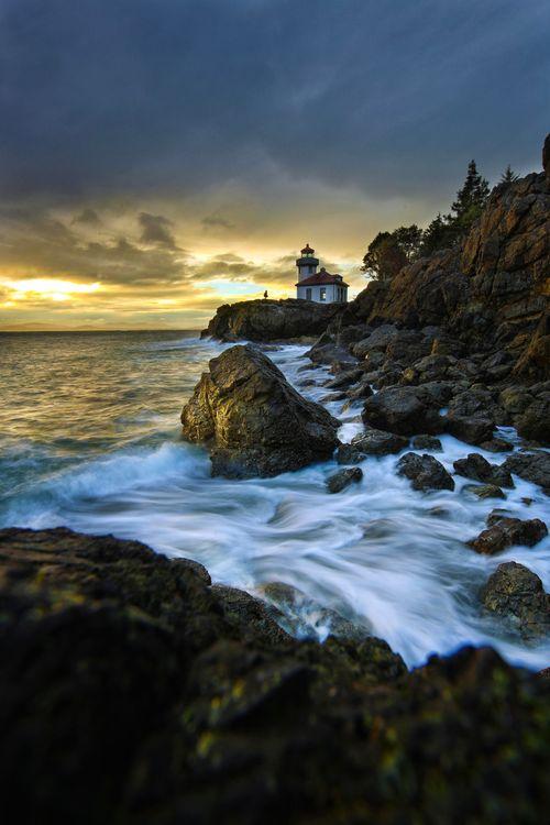 Фото бесплатно пляж, Вашингтон, Сан - Сан-Хуан остров, закат, скалы, маяк, пейзаж, пейзажи