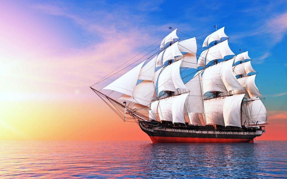 Фото бесплатно море, корабль, паруса, корабли