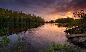 Фото бесплатно закат, река, лес