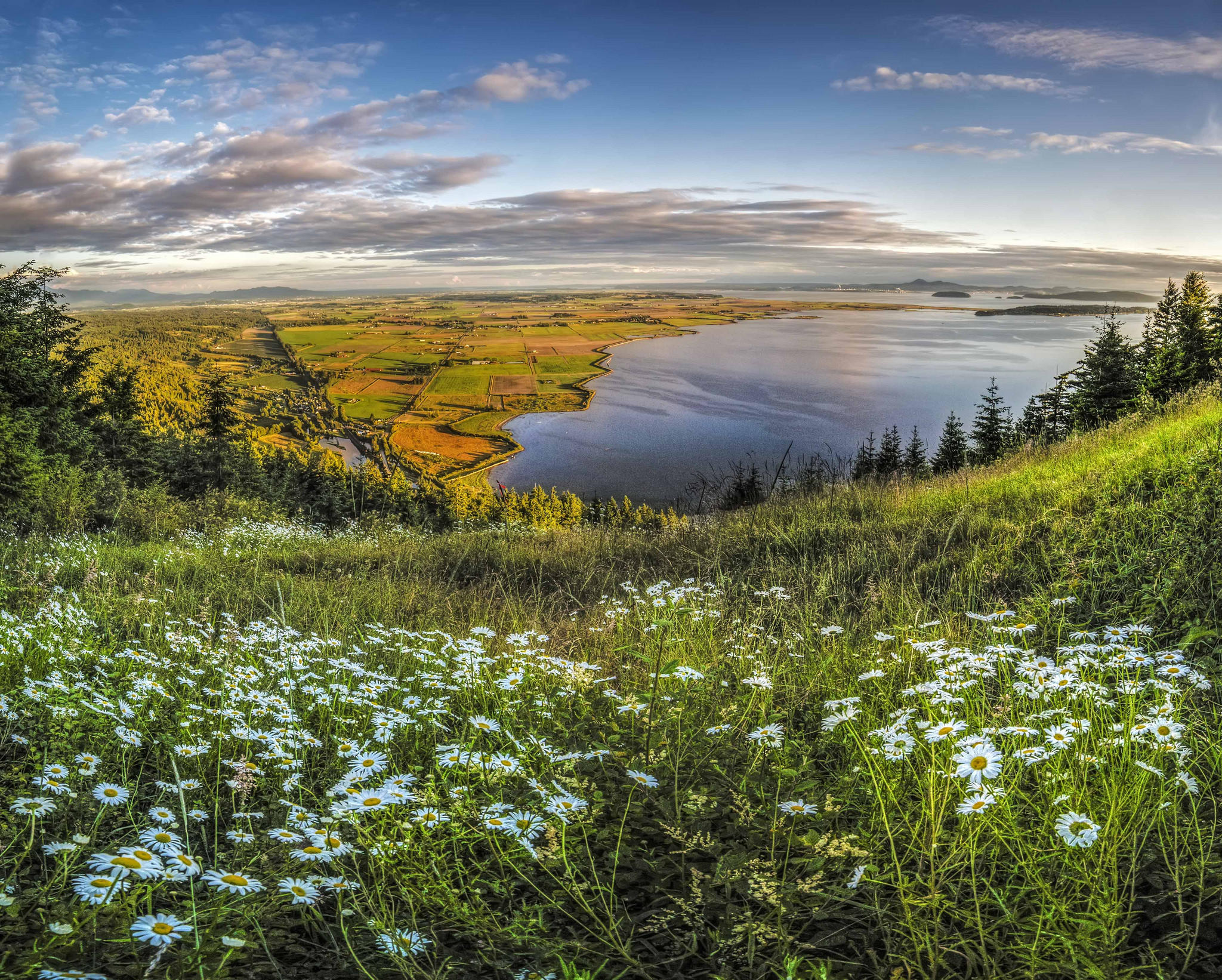 Обои Долина Скагит, водоём, поля, луг