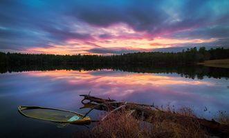 Фото бесплатно Салтмарш-пруд, Гилфорд, закат