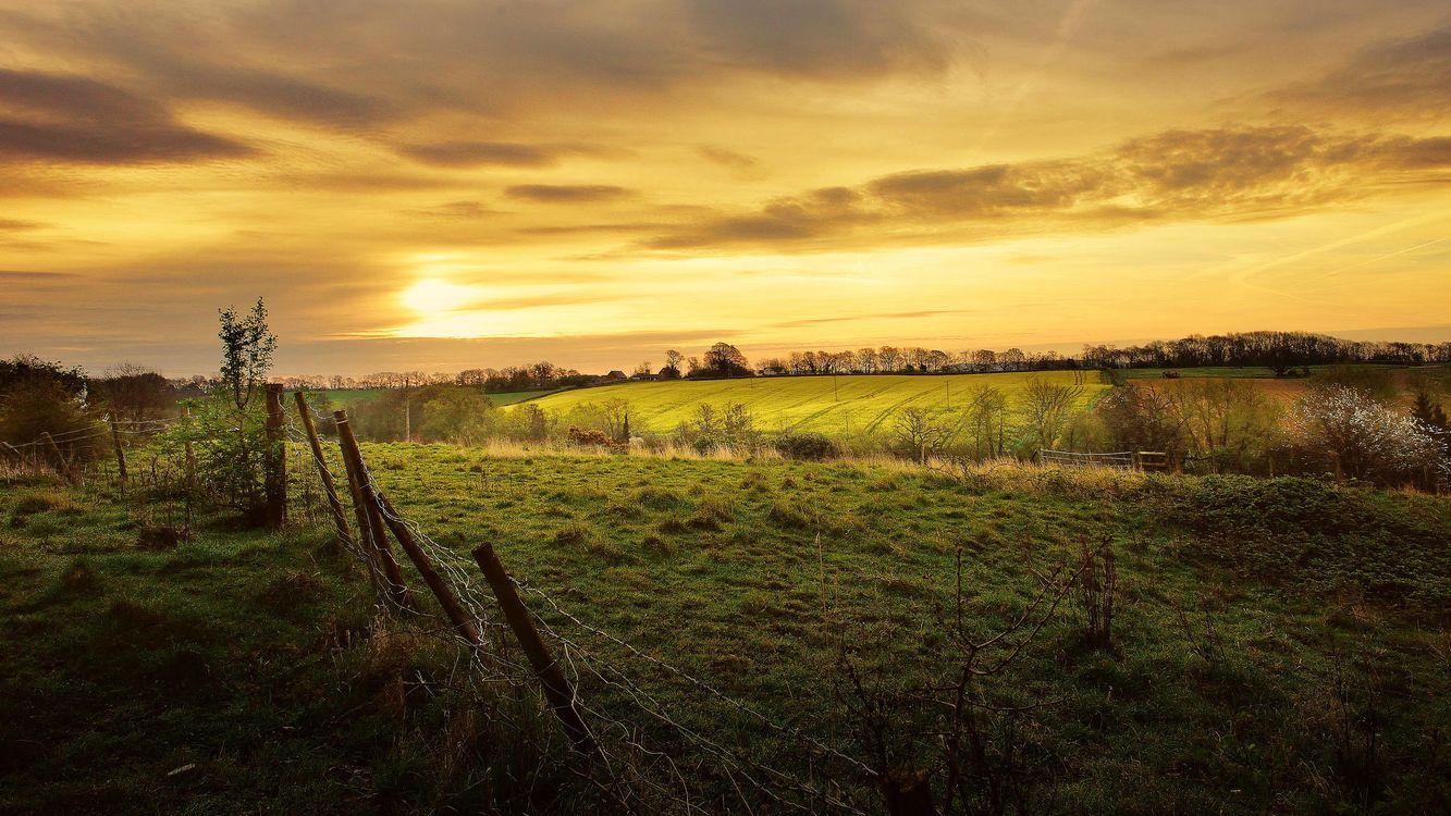 Фото бесплатно закат, поле, холмы, забор, деревья, пейзаж - на рабочий стол