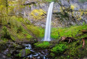 Бесплатные фото Columbia River Gorge,водопад,скалы,деревья,пейзаж