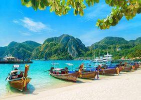 Заставки тропики, пляж, лодки