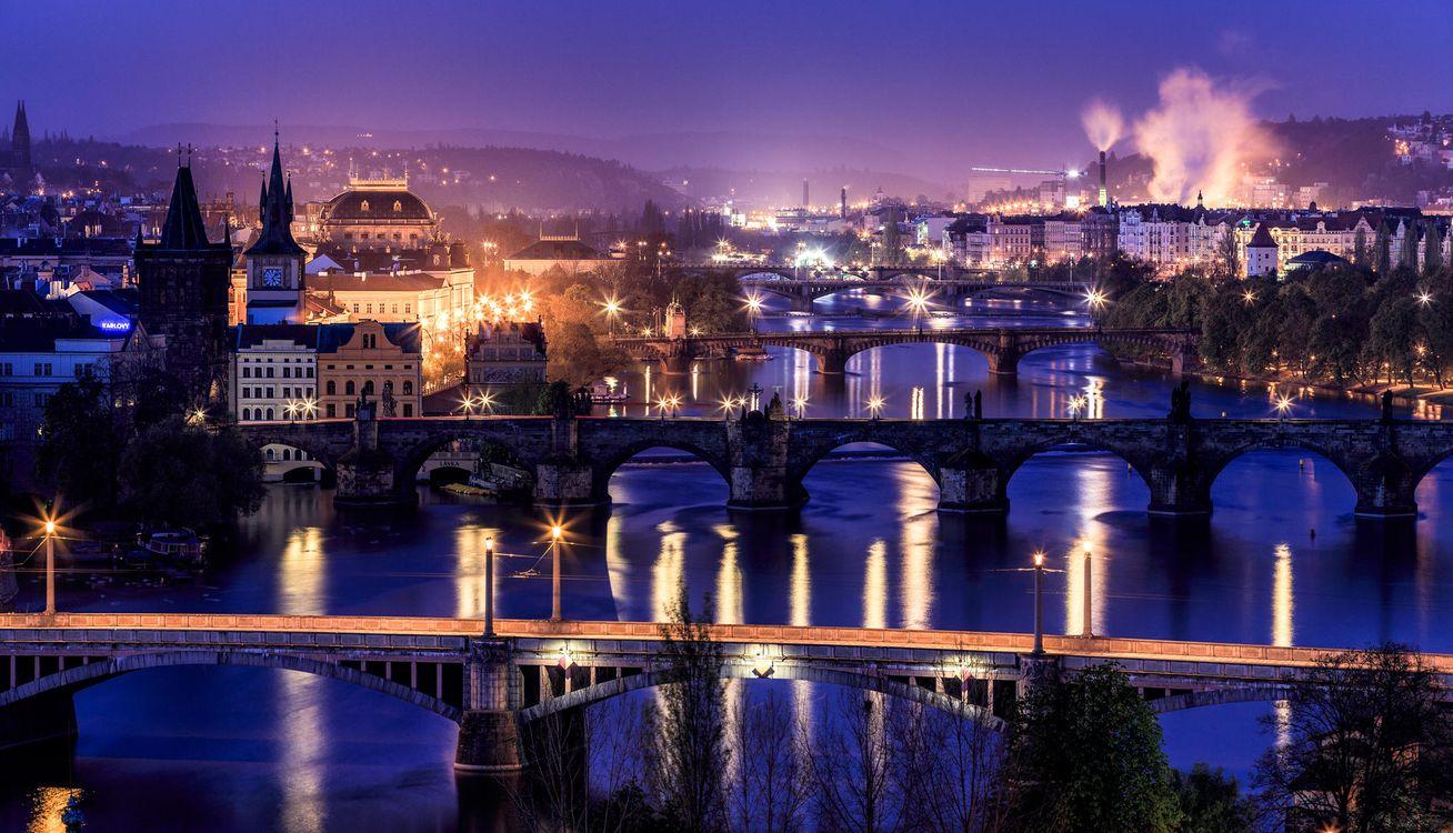 Фото бесплатно Чешская Республика, Прага, Чехия, Река Влтава, ночь, город