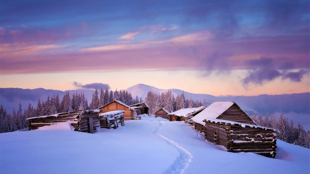 Заставки избушки, дома, снег