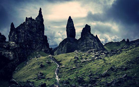 Заставки поля, горы, камни