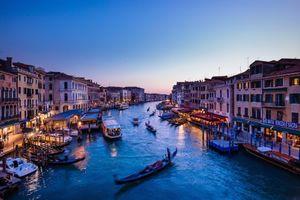 Фото бесплатно Grand Canal, Venice, Большой канал, Венеция, Италия, ночь