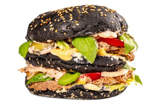 Photo free food, black, hamburger