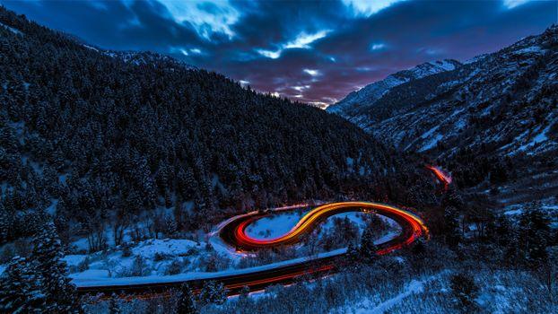 Бесплатные фото дорога,свет,небо,лес,горы,снег