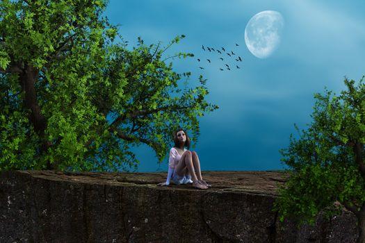Фото бесплатно закат, луна, скала