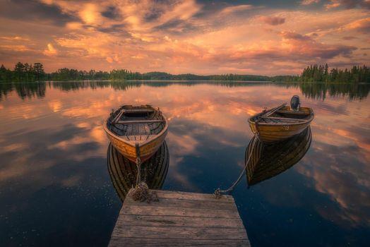 Заставки закат, озеро, причал