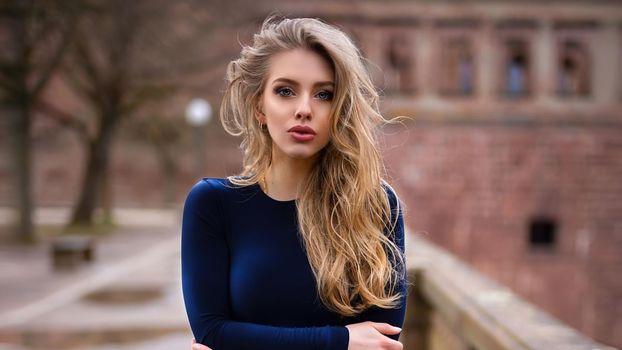 Photo free Alexa Breit, blonde, dress blue