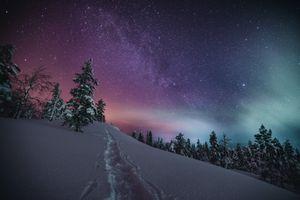 Бесплатные фото Лапландия,Финляндия,зима,снег,сугробы,сияние,деревья
