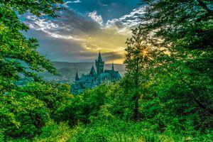 Бесплатные фото Schloss Wernigerode, Замок Вернигероде, Германия, закат, пейзаж