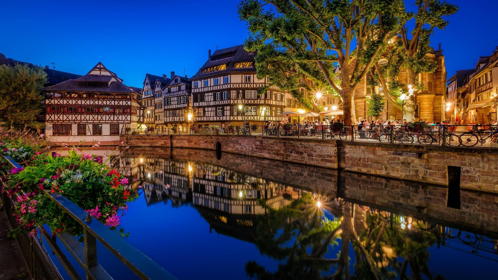 Обои Страсбург, Франция, ночь, огни