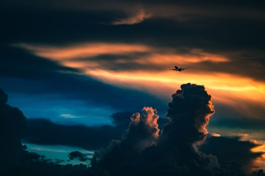 Photo free clouds, airplane, sunset