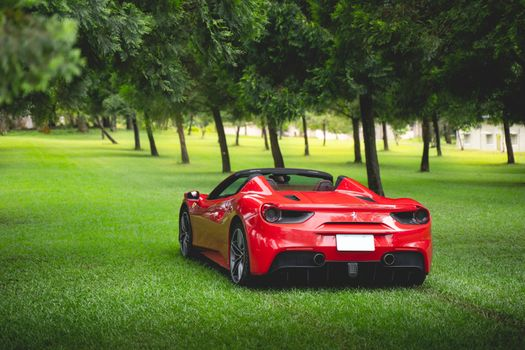 Photo free Ferrari 488 Spider, rear view, red supercars