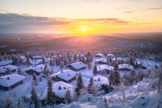 Заставки Lapland, зима, домики