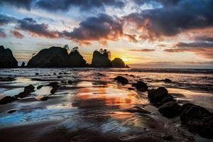 Бесплатные фото Пляж Ши Ши и Точка арки,Олимпийский национальный парк,море,скалы,закат,пейзаж
