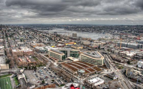 Фото бесплатно здание, вид сверху, город