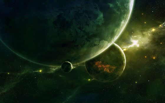 Photo free planets, stars, green nebula
