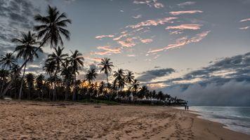 Фото бесплатно пляж, закат, закат пляж