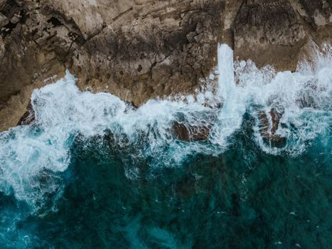 Photo free waves, view from the top, foam