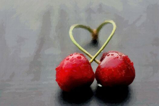 Фото бесплатно две вишни, произведение искусства, красный