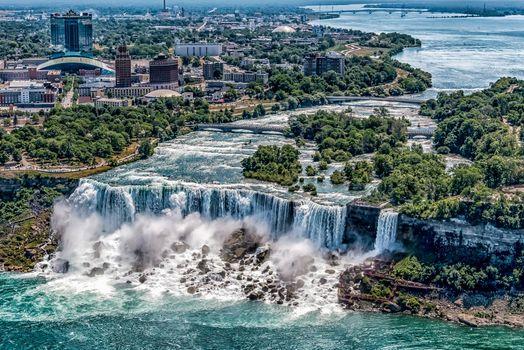 Фото бесплатно США, Ниагарский водопад, вид сверху