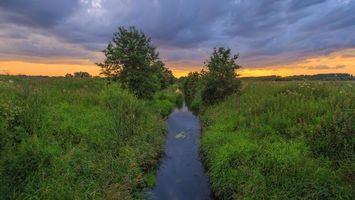 Фото бесплатно канавы, пруд, закат
