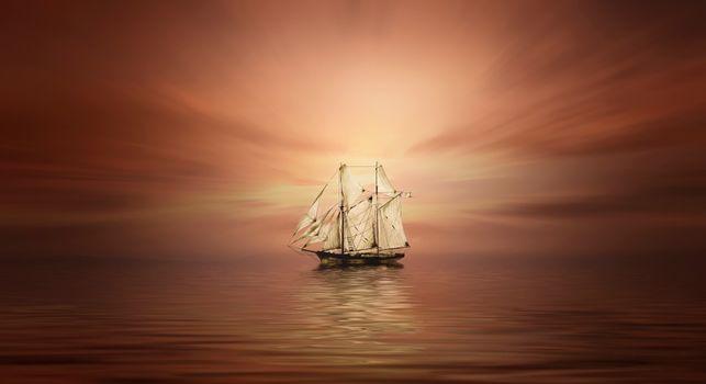 Фото море, корабль онлайн бесплатно