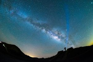 Photo free starry sky, night, man