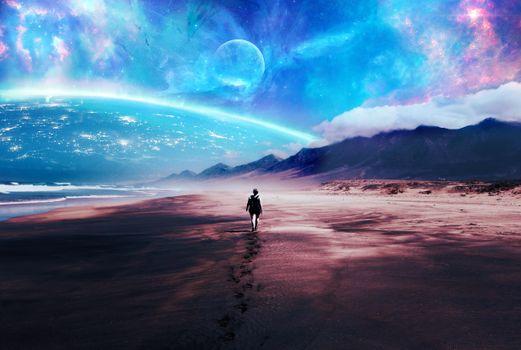 Photo free woman, walking, planet