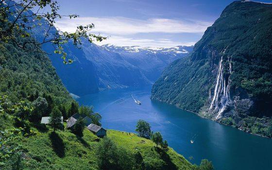 Photo free sea, waterfall, mountains