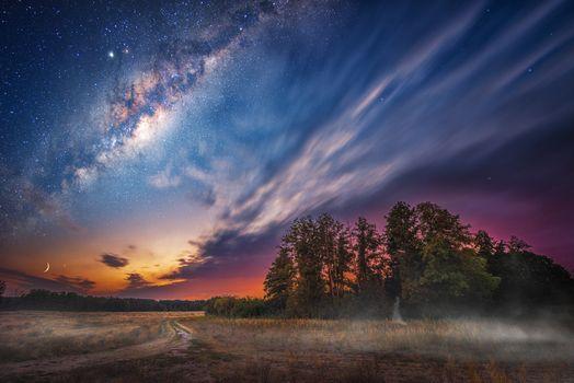 Фото бесплатно сумерки, месяц, млечный путь