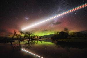 Бесплатные фото свечение,сияние,Австралия,озеро,небо,деревья,пейзаж