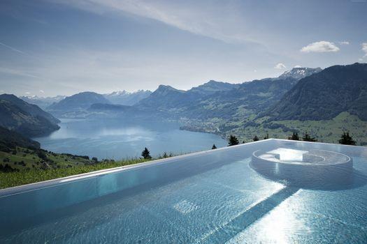 Photo free a swimming pool, mountains, house