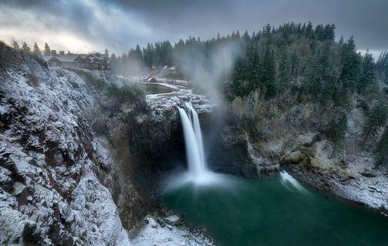 Фото бесплатно водопад, штат Вашингтон, зима