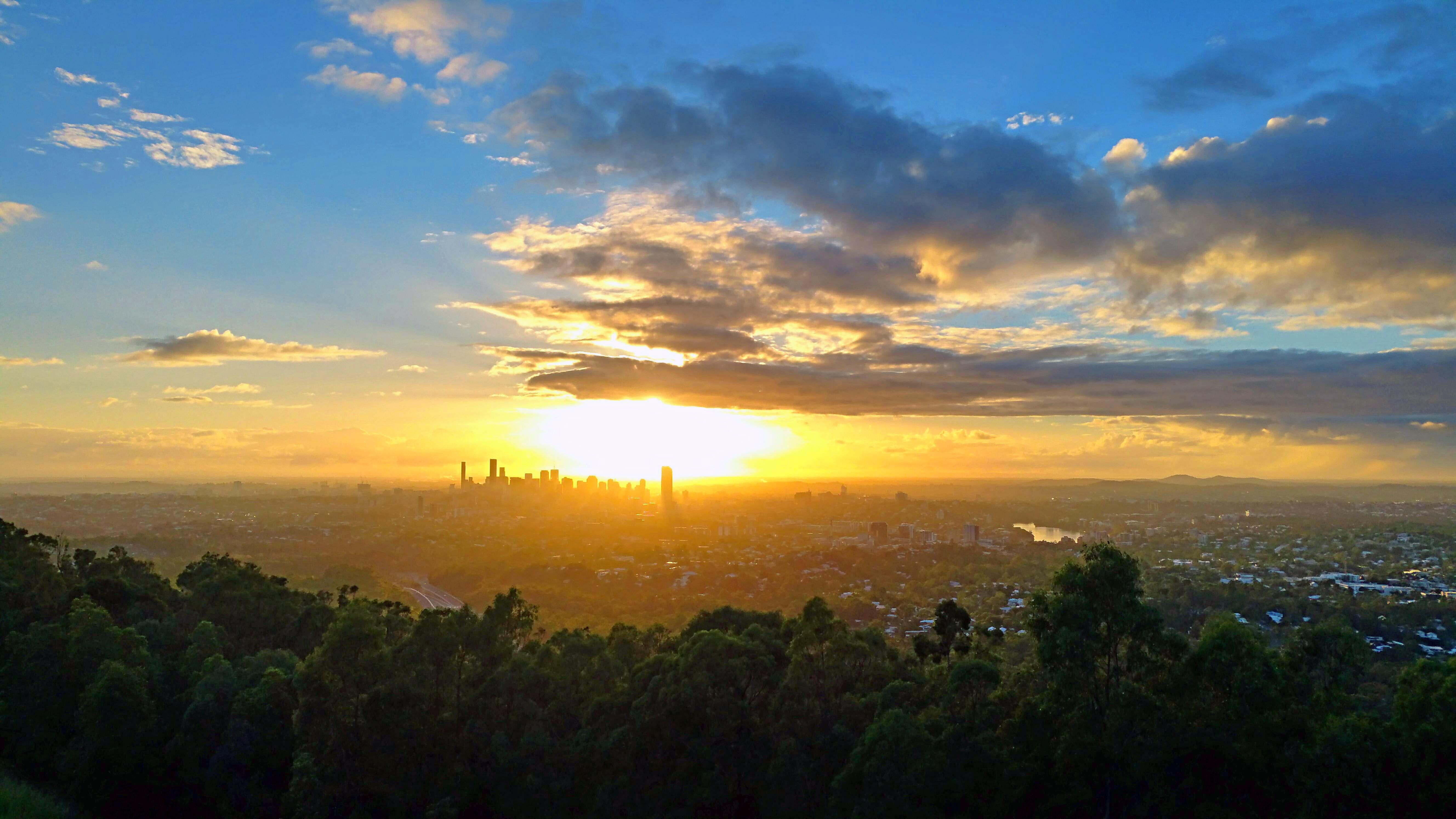 Обои город, закат, пейзаж