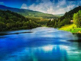 Фото бесплатно река, горы, деревья