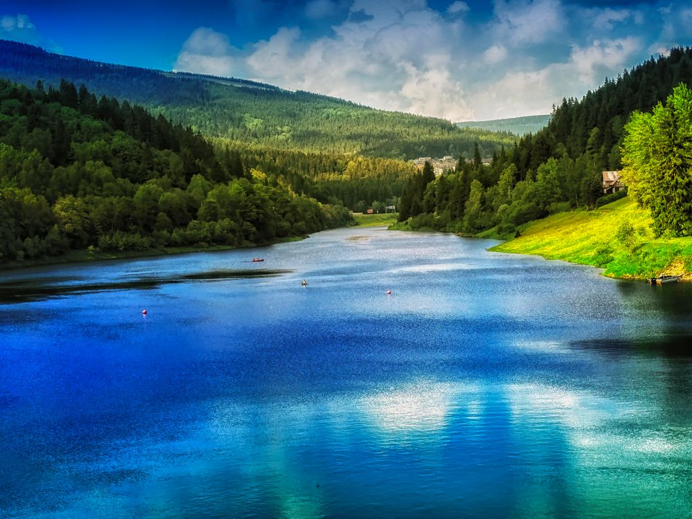 Фото бесплатно река, горы, деревья - на рабочий стол
