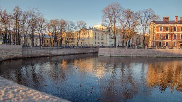 Заставки Санкт-Петербург Мойка, река, утки