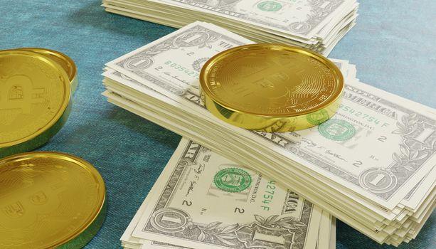 Фото бесплатно 3д графика, Bitcoin, долларов