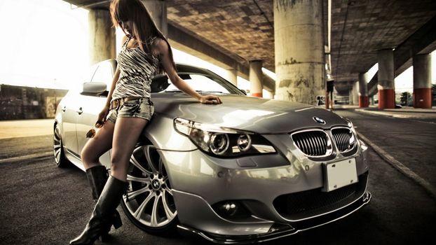 Photo free BMW, women with cars, BMW 5 Series